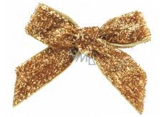 Mašľa zamatová zlatá trblietavá 8 cm 12 kusov