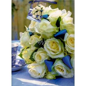 Nekupto Dárková papírová taška velká 32,5 x 26 x 13 cm Modrá - bílé růže 1 kus 843 40 BL