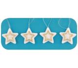 Hviezdy na zavesenie, zlatý dekor 5 cm, 4 kusy v sáčku