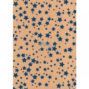 Ditipo Darčekový baliaci papier 70 x 200 cm Vianočný KRAFT modré hviezdičky