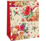 Ditipo Darčeková papierová taška 18 x 10 x 22,7 cm Vianočná detská - medvedík s darčekmi