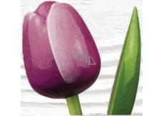 Bohemia Gifts Dřevěný tulipán fialovo-bílý 34 cm