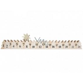 Adventný kalendár drevený biely so zlatou hviezdou 78 x 395 mm