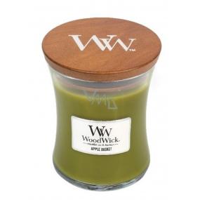 Woodwick Apple Basket - Košík jabĺk vonná sviečka s dreveným knôtom a viečkom sklo stredná 275 g