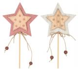 Hviezda drevená, vločky 7 cm + špajle 1 kus