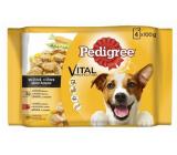 Pedigree Vital Protection s kuracím mäsom a zeleninou, s hovädzím a zeleninou na šťave kapsička 4 x 100 g