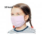 Rúška 3 vrstvová ochranná zdravotné netkaná jednorazová, nízky dýchací odpor pre deti 10 kusov ružová bez potlače