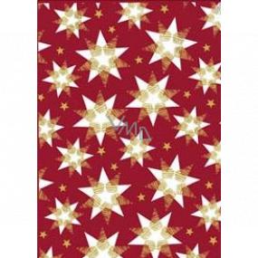 Ditipo Darčekový baliaci papier 70 x 200 cm Vianočný vínový bielo-zlaté hviezdy
