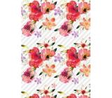 Ditipo Darčekový baliaci papier 70 x 100 cm Biely červené kvety 2 archy