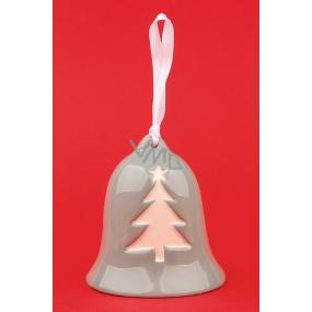 Zvonček keramický šedý sa stromčekom a vločkami 8,5 cm