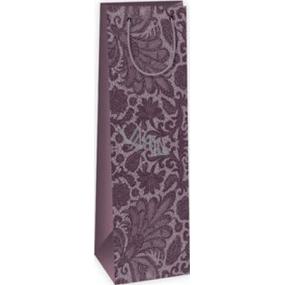 Ditipo Darčeková papierová taška na fľašu 12,3 x 7,8 x 36,2 cm fialová krajkový vzor