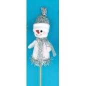 Zápich bílá figurka Sněhulák 8 cm + špejle