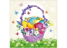 Aha Velikonoční papírové ubrousky fialový košík s vajíčky a motýlci 3 vrstvé 33 x 33 cm 20 kusů