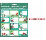 Menovky na darčeky samolepiace s glitrami 18 x 18 cm 24 kusov