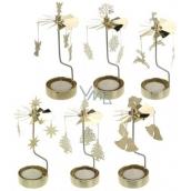 Vánoční rotující kolotoč na čajovou svíčku mosaz 65 x 160 mm