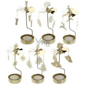 Svietnik rotujúce kolotoč mosadz na čajovú sviečku 65 x 160 mm