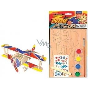 Puzzle drevené dopravné prostriedky Dvojplošník 20 x 15 cm