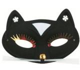 Škraboška plesová mačka čierna 17 cm
