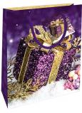 Nekupto Darčeková papierová taška 23 x 18 x 10 cm Vianočný fialová darček WBM 1937 40