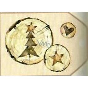Nekupto Vianočné kartičky na darčeky Kmeň stromu sa stromčekom, hviezdou a srdcom 5,5 x 7,5 cm 6 kusov