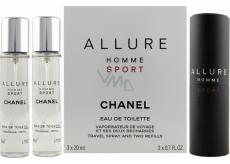 Chanel Allure Homme Sport toaletná voda komplet 3 x 20 ml