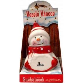 Nekupto Sněhuláček se jménem Iva Vánoční dekorace 021 rozměr 8 cm