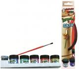 Amos Barvy na keramiku a sklo v krabičce 5 odst.ínů 1 2ml + kontura 5 ml + štěteček