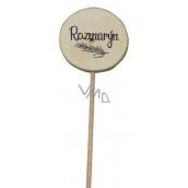 Bohemia Gifts & Cosmetics Drevený zápich k bylinkám s potlačou - Rozmarín priemer kolieska je 5 - 8 cm