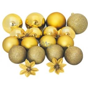 Baňky zlaté mix povrchů a velikostí 20 ks