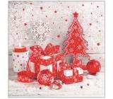 Aha Papierové obrúsky 3 vrstvové 33 x 33 cm 20 kusov Vianočný biele, červený stromček, červené ozdoby