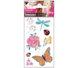 Tetovacie obtlačky farebné detské s glitrami S vážka 10,5 x 6 cm