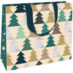 Nekupto Darčeková papierová taška luxusné 30 x 23 cm Vianočný Stromčeky WLFL 1998