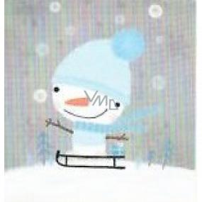 Nekupto Vianočné kartičky na darčeky Snehuliak na saniach 6,5 x 6,5 cm 6 kusov