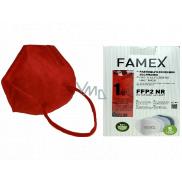 Famex Respirátor ústnej ochranný 5-vrstvový FFP2 tvárová maska červená 10 kusov