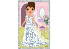 Vyškrabávací obrázok Bábiky dlhé šaty a kvietok 21,5 x 11 cm