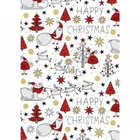 Ditipo Darčekový baliaci papier 70 x 200 cm Vianočný biely Santa sob stromčeky