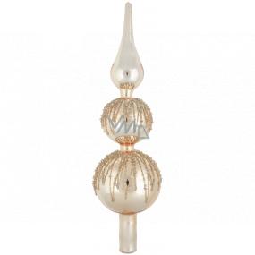 Sklenená špica na strom zdobená, zlatá 29 cm