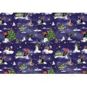 Nekupto Vánoční balící papír Krtek tmavě modrá 70 x 200 cm 1 role