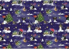 Nekupto Darčekový baliaci papier 70 x 200 cm Vianočný Krtko tmavo modrá 1 role