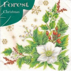 Forest Papierové obrúsky 1 vrstvové 33 x 33 cm 20 kusov Vianočný Biela kvetina
