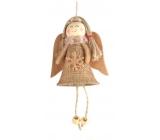 Anděl s hvězdou jutový k pověšení 13 cm č.3