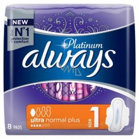 Always Platinum Ultra Normal Plus hygienické vložky s krídelkami 8 kusov