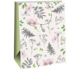 Ditipo Darčeková papierová taška banky Kraft banky biela, ružovej a šedej kytky 27 x 12 x 37 cm