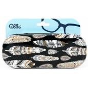 Albi Original Puzdro na okuliare plechové Pierka 15,7 x 6,2 x 3,2 cm