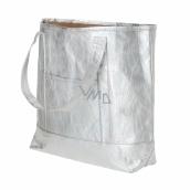 Albi Eko kabelka vyrobená z pratelného papiera laminácia - strieborná 30 cm x 38 cm x 10,5 cm