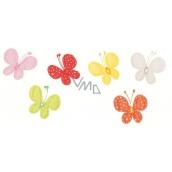 Motýliky s klipom látkou s glitrovými bodkami 4 cm 6 farieb v sáčku 6 kusov