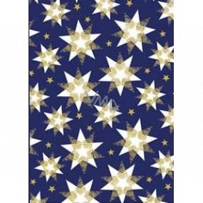 Ditipo Darčekový baliaci papier 70 x 200 cm Vianočné modrý bielo-zlaté hviezdy