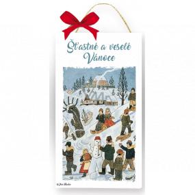 Nekupto Drevená ceduľka Josef Lada Šťastné a veselé Vianoce 20 x 12 x 0,5 cm