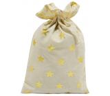 Látkový vrecúško so zlatými hviezdami 20 x 32 cm