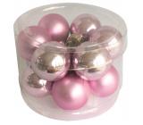 Banky sklenené svetlo ružová sada 2,5 cm, 12 kusov